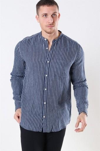 Luke LS Linen Mandarine Overhemd Dress Blues/White Stripes
