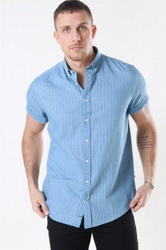 Johan S/S Denim Stripe Overhemd Light Blue