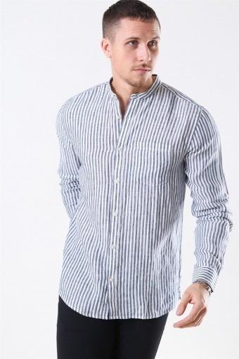 Luke LS Linen Mandarine Overhemd White/Blue Stripes