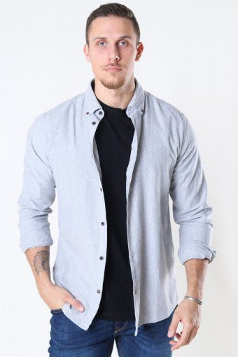Edin LS Flannel Twill Overhemd Medium Grey Melange