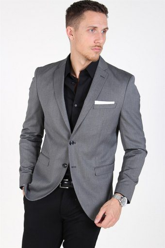 Slim-MyloLogan Blazer Dark Grey StructKloke