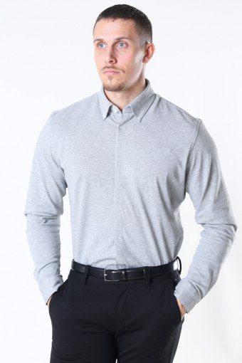 Slim Oliver Knit Flex Overhemd LS Medium Grey Melange