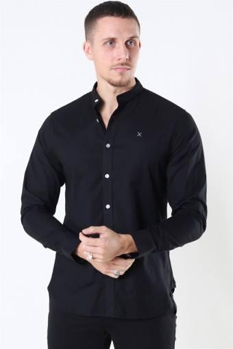 Clean Cut Oxford Stretch Mao L/S Overhemd Black