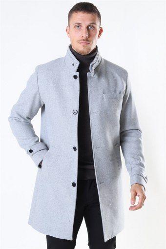 Melton Uldfrakke Light Grey
