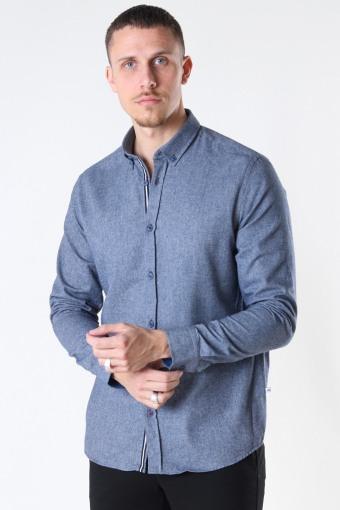 Johan Herringbone flannel shirt Navy