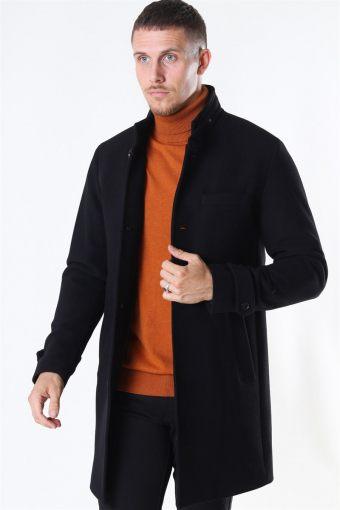 Melton Uldfrakke Black