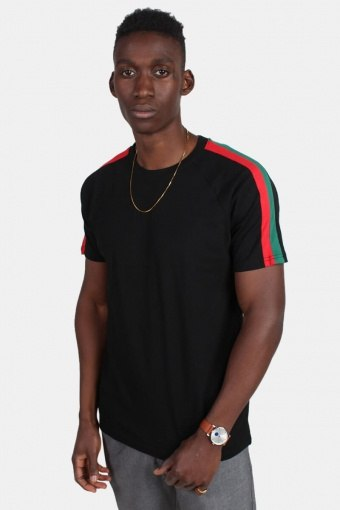 Klokban Classic TB2059 Stripe Shoulder Raglan T-shirt Black/Firered/Green