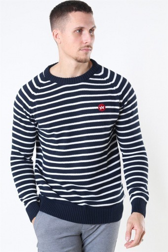 Liam Recycled Cotton Striped Breien Navy/White