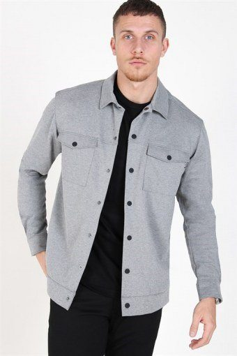 Comfort Stretch Overshirt Light Grey Melange