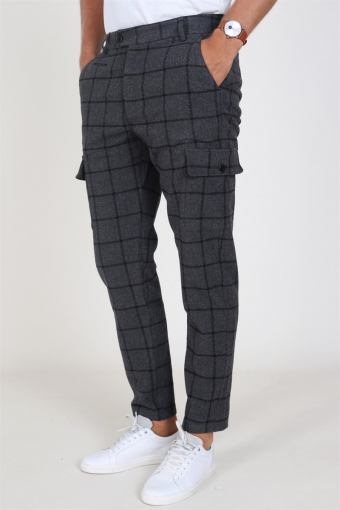 Como Wool Check Cargo Pants Charcoal/Black