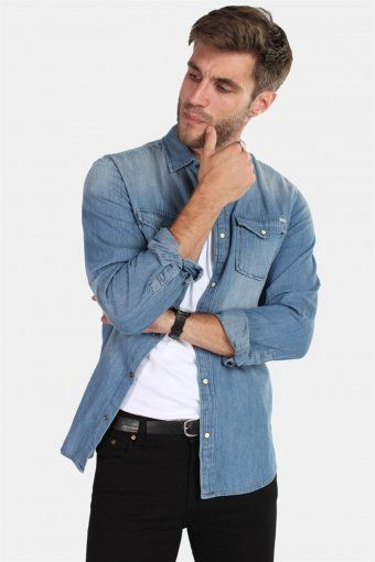 Sheridan Overhemd Medium Blue Denim
