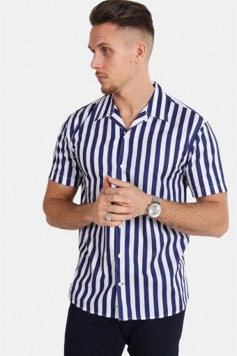 Cuba S/S Gr.78 Overhemd White/Dark Blue