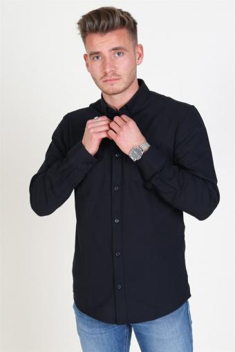 Alvaro LS Oxford Overhemd Black