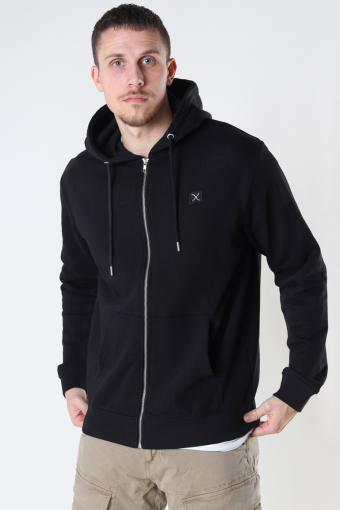 Basic Organic Zip Hood Black