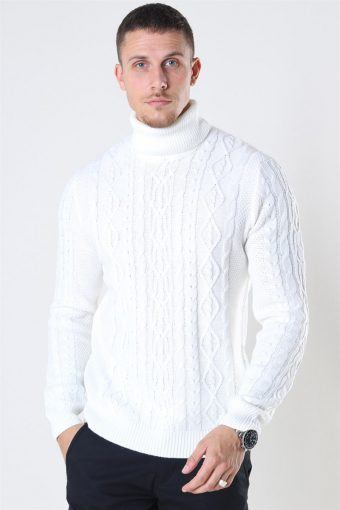 Rigge 3 Cable Roll Neck Breien Cloud Dancer