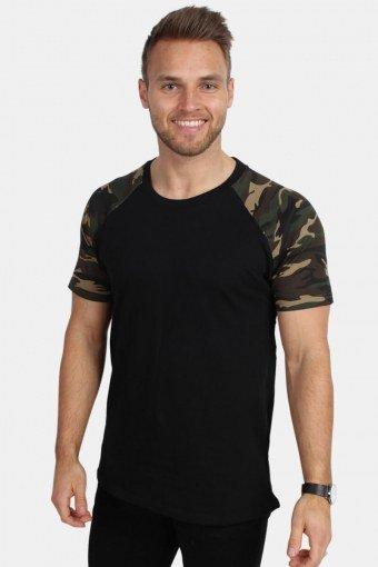 Klokban Classics TB639 Raglan Contrast T-shirt Blk/woodcamo