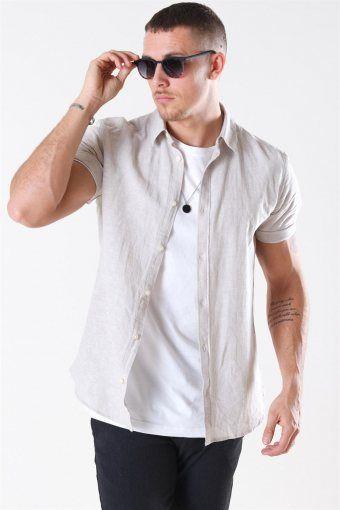 Caiden S/S Linen Overhemd Chinchilla