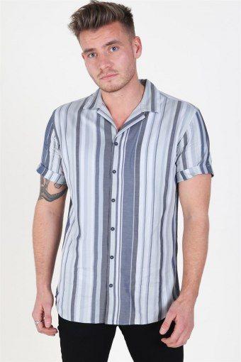 Robert Stripe Overhemd S/S Navy Blazer