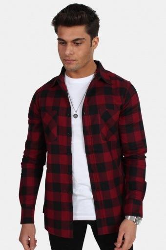 TB297 Checked Flanell Overhemd Black/Burgundy