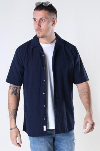 Onssteve Life Ss Seersucker Reg Shirt Dark Navy