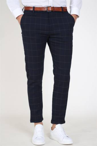 Como Check Suit Pants Dark Navy/Brown