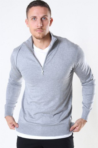 Argento Half Zip Breien Light Grey Mix