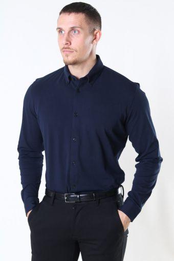 Slim Oliver Knit Flex Overhemd LS Dark Sapphire