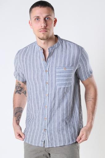 Johan striped henley  s/s shirt Navy