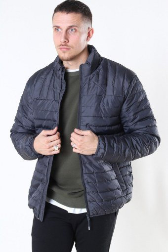 Paul Quilted Highneck Jas Grey Pinstripe