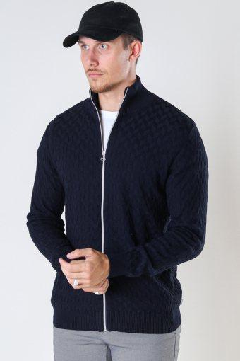 Bertil Cotton zip cardigan Navy