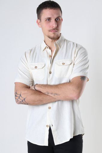 DP Linen ss shirt 135 CLOUD CREAM