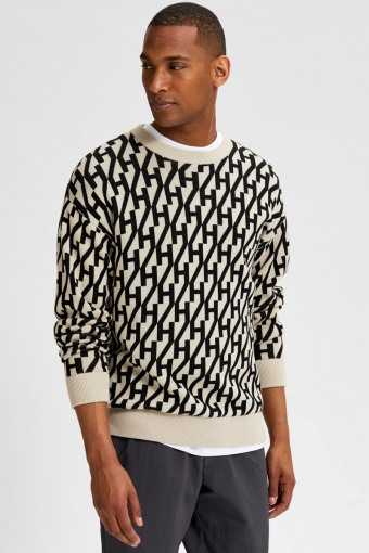 SLHBENESS LS KNIT CREW NECK G Oatmeal Black