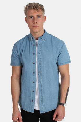 Johan Denim Overhemd S/S Light Blue