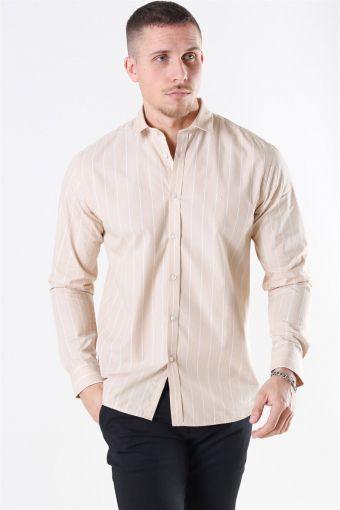 Ramon Stripe Overhemd Khaki/ White