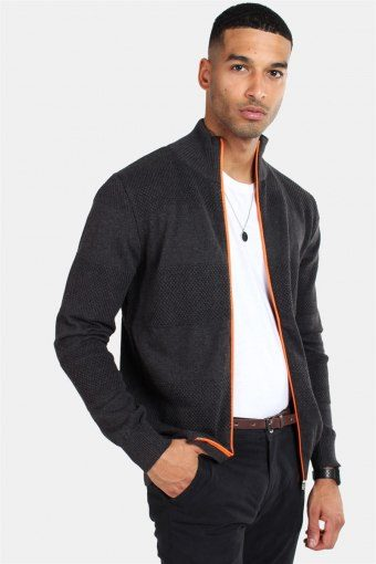 Jacob Zip Breien Charcoal Mel/Orange