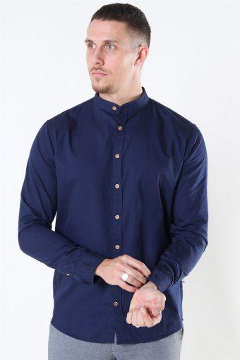Johan Herringbone Cotton Henley Overhemd Navy