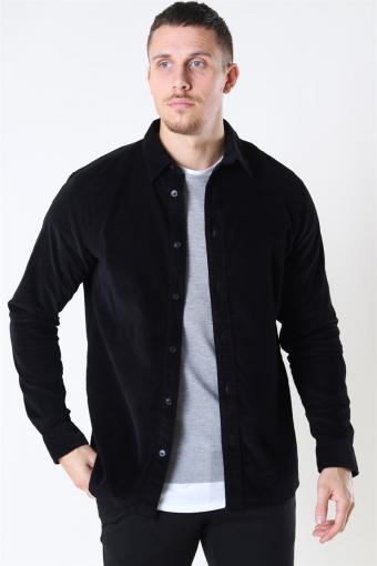 Reg Henley Fløjls Overhemd LS Black