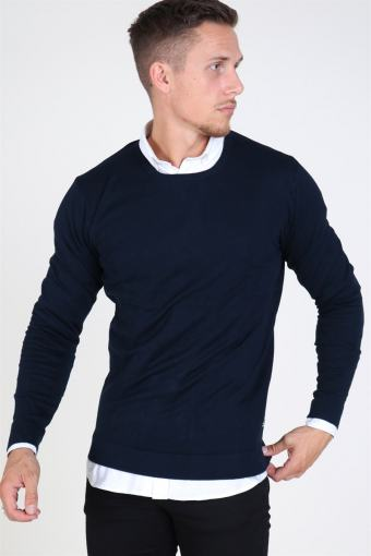 Tailored & Originals Mont O-neck Breien Insignia Blue