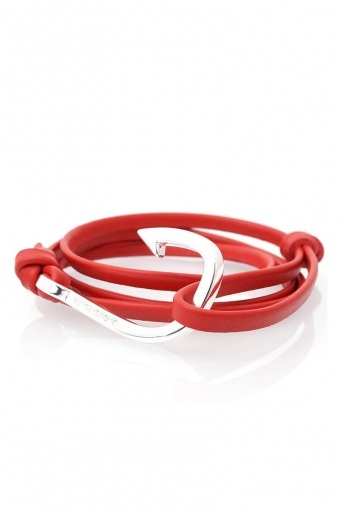 Hook Leather Armband Red/Silver