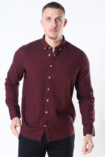 Johan Diego Cotton Overhemd Bordeaux Mel