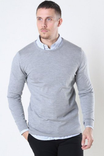 Merino Wool Crew Breien Light Grey Mel