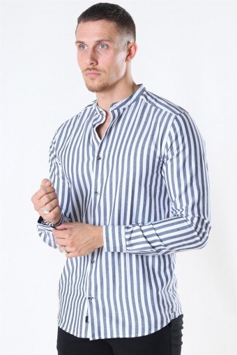 Edwin Life LS Stripe Mandarine Overhemd Dark Navy