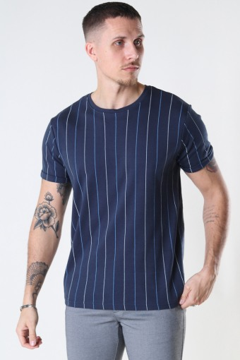 Louis Organic Tee Navy Stripe