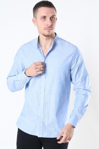 Clean Cut Oxford Stretch Mao L/S Overhemd Light Blue