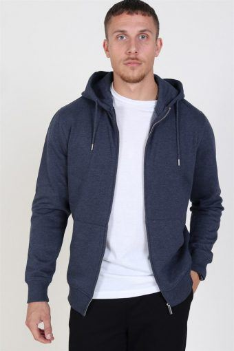 Organic Morgan Zip Sweat Navy Mel