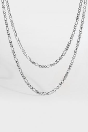 Double Antique Halskæde Silvertonet