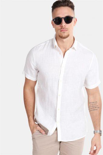 Caiden SS Linen Overhemd R White