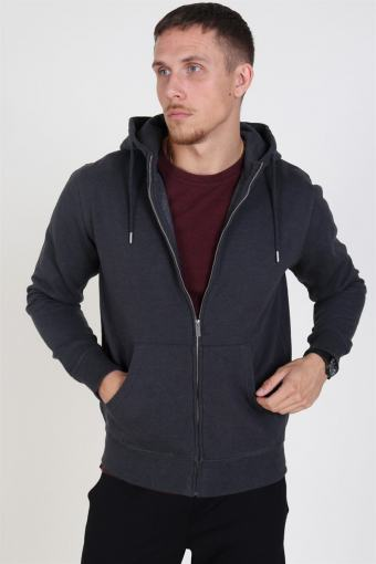 Organic Morgan Zip Sweat Dark Grey Mel
