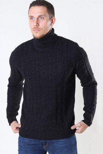 Rigge 3 Cable Roll Neck Breien Black
