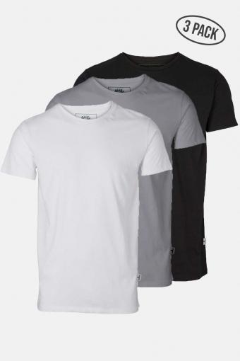 Elon Recycled cotton 3-pack t-shirt White/Black/Grey